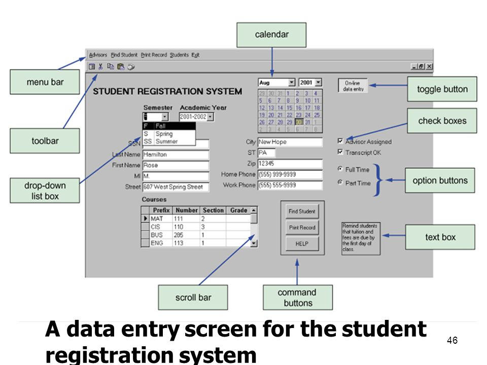 46 A data entry screen for the student registration system