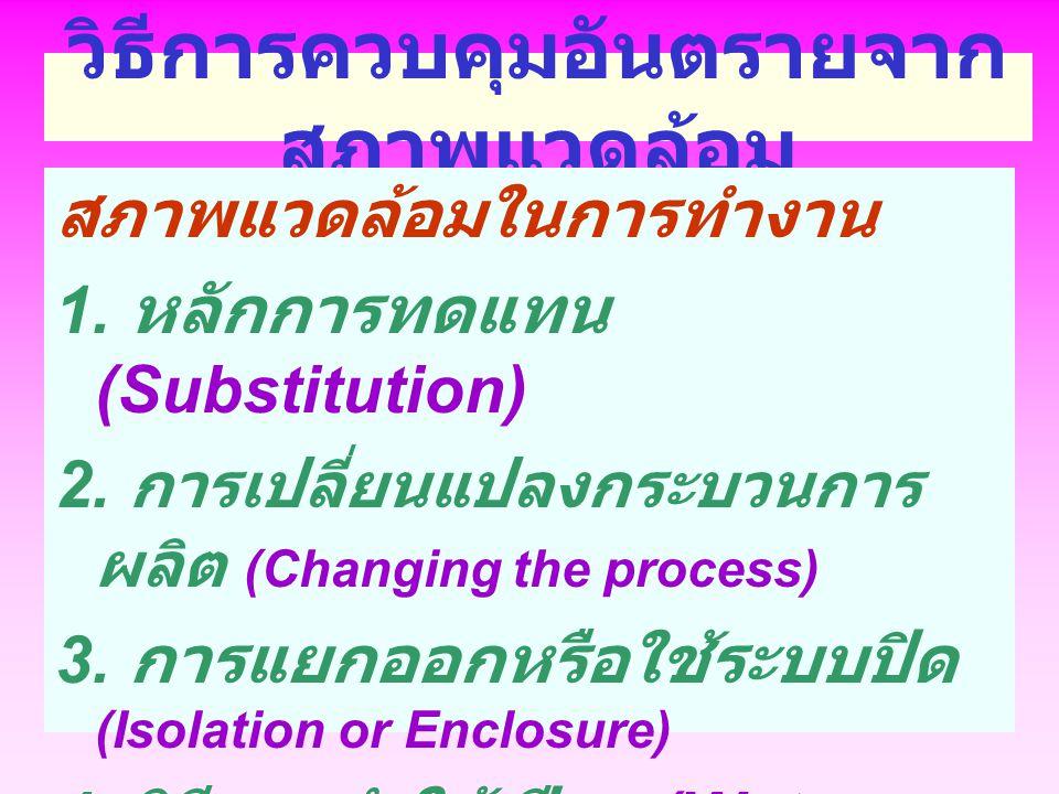 วิธีการควบคุมอันตรายจาก สภาพแวดล้อม สภาพแวดล้อมในการทำงาน 1. หลักการทดแทน (Substitution) 2. การเปลี่ยนแปลงกระบวนการ ผลิต (Changing the process) 3. การ