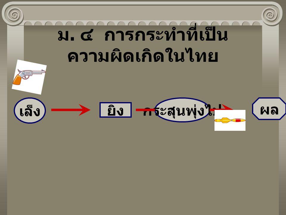 ม. ๔ การกระทำที่เป็น ความผิดเกิดในไทย เล็ง ยิง กระสุนพุ่งไป ผล