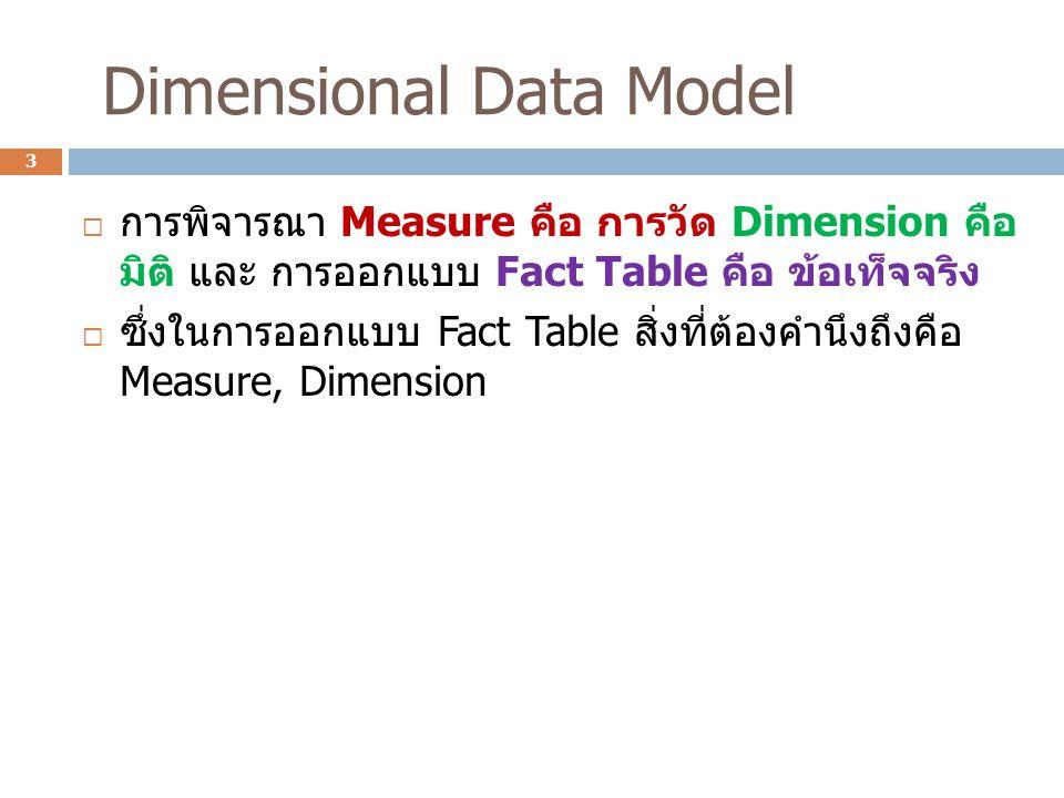 Dimensional Data Model  การพิจารณา Measure คือ การวัด Dimension คือ มิติ และ การออกแบบ Fact Table คือ ข้อเท็จจริง  ซึ่งในการออกแบบ Fact Table สิ่งที่ต้องคํานึงถึงคือ Measure, Dimension 3
