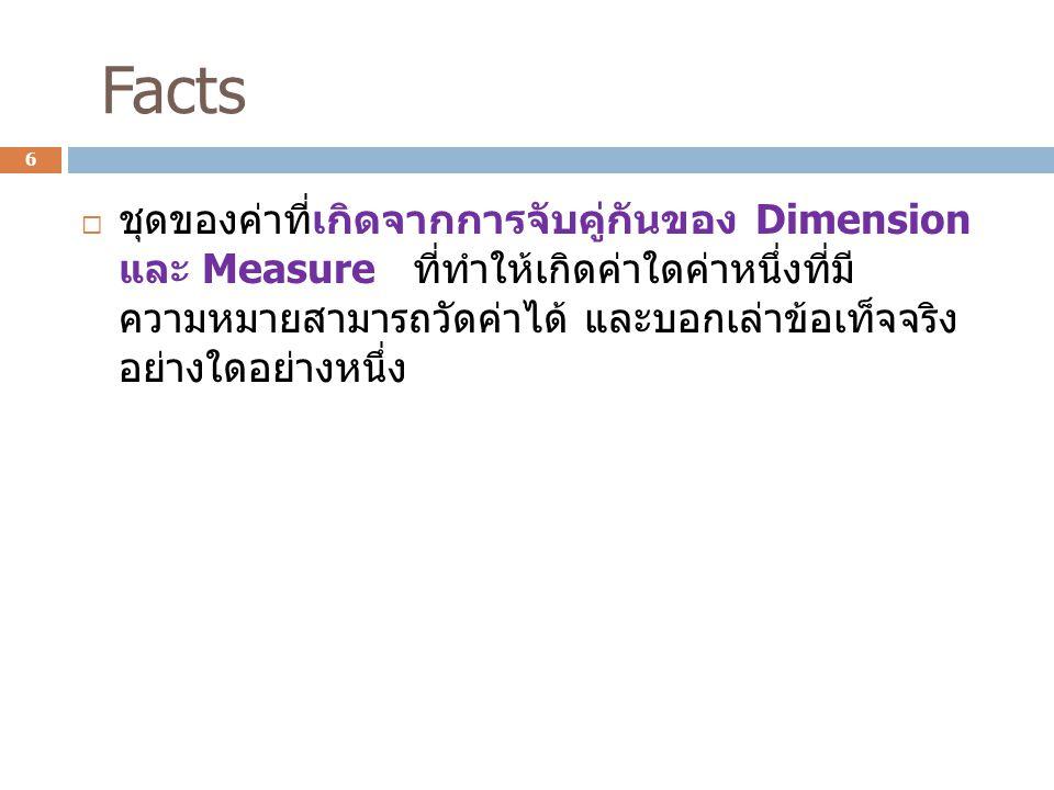 ตัวอย่าง Measure Dimension Facts and Fact Table 7