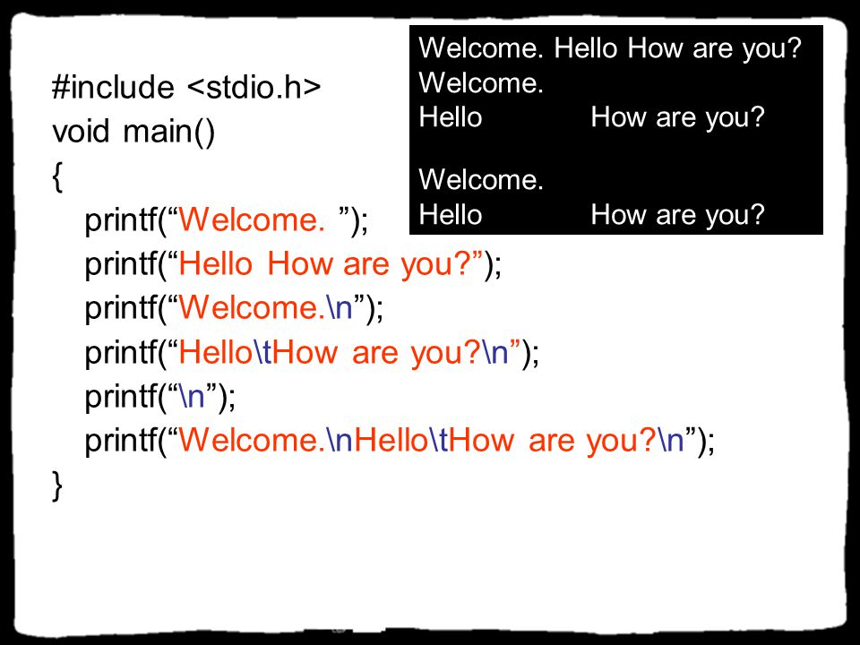 """รูปแบบและรหัสควบคุม รูปแบบแสดงผล \n ขึ้นบรรทัดใหม่ \t แท็บ \' แสดงตัวอักษร ' \"""" แสดงตัวอักษร """" \\ แสดงตัวอักษร \ รหัสควบคุม %d แสดงเลข จำนวนเต็ม %f แส"""