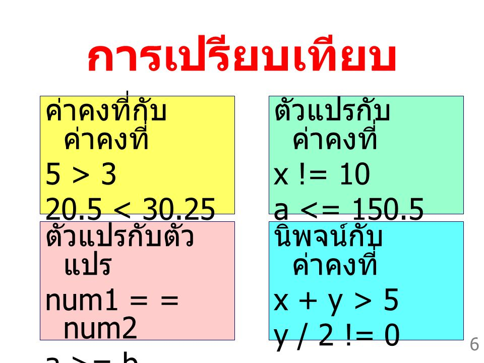 6 การเปรียบเทียบ ค่าคงที่กับ ค่าคงที่ 5 > 3 20.5 < 30.25 ตัวแปรกับ ค่าคงที่ x != 10 a <= 150.5 ตัวแปรกับตัว แปร num1 = = num2 a >= b นิพจน์กับ ค่าคงที่ x + y > 5 y / 2 != 0