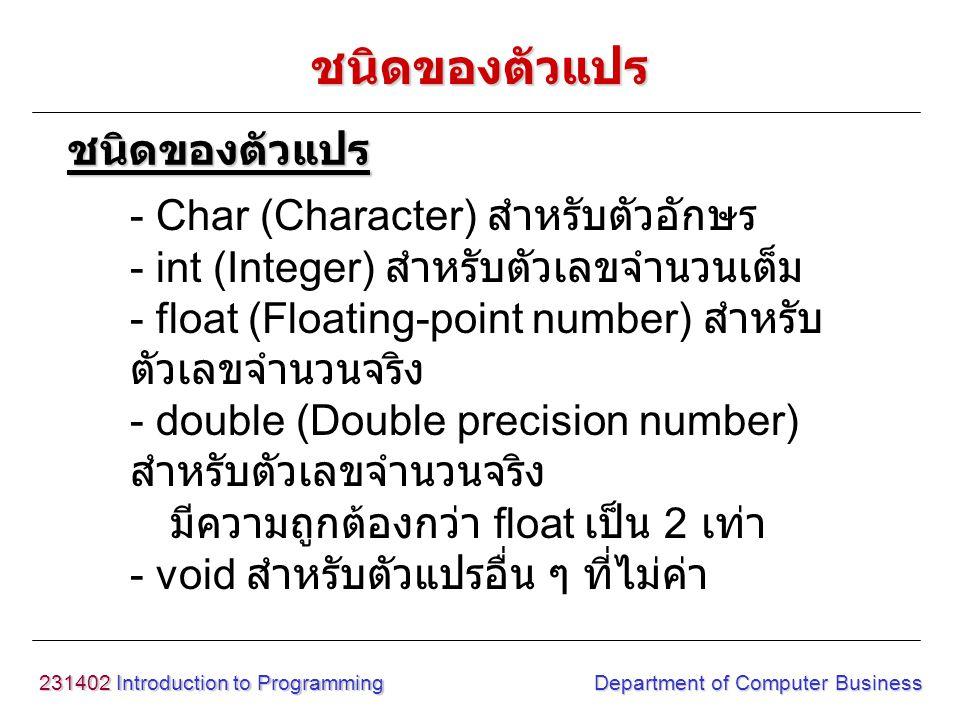 231402 Introduction to Programming Department of Computer Business ชนิดของตัวแปร - Char (Character) สำหรับตัวอักษร - int (Integer) สำหรับตัวเลขจำนวนเต็ม - float (Floating-point number) สำหรับ ตัวเลขจำนวนจริง - double (Double precision number) สำหรับตัวเลขจำนวนจริง มีความถูกต้องกว่า float เป็น 2 เท่า - void สำหรับตัวแปรอื่น ๆ ที่ไม่ค่า ชนิดของตัวแปร