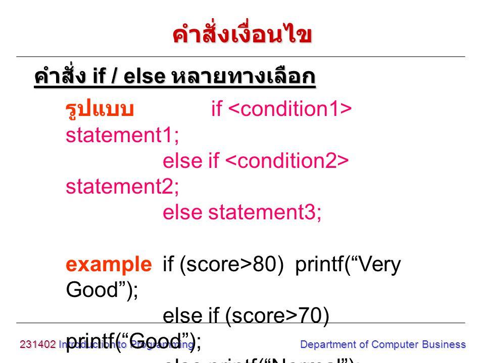 231402 Introduction to Programming Department of Computer Business รูปแบบ switch(variable) { case constant1: statement1; break; case constant2: statement2; break; } variable = ตัวแปร หรือ นิพจน์ constant = ค่าคงที่ชนิด int หรือ char ที่เป็นตัว เลือกทำงาน คำสั่ง switch คำสั่งเงื่อนไข