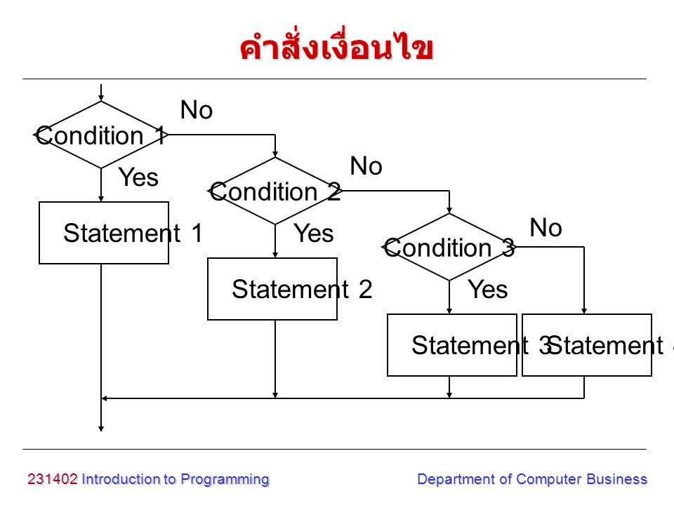 231402 Introduction to Programming Department of Computer Business รูปแบบ if statement1; else if statement2; else statement3; value = ค่าต้องการตรวจสอบ เงื่อนไข operand = เครื่องหมายตรวจสอบ ทางคณิตศาสตร์ logical operand = เครื่องหมาย ตรวจสอบทางตรรกะ การใช้เครื่องหมายเปรียบเทียบกับเงื่อนไข คำสั่งเงื่อนไข