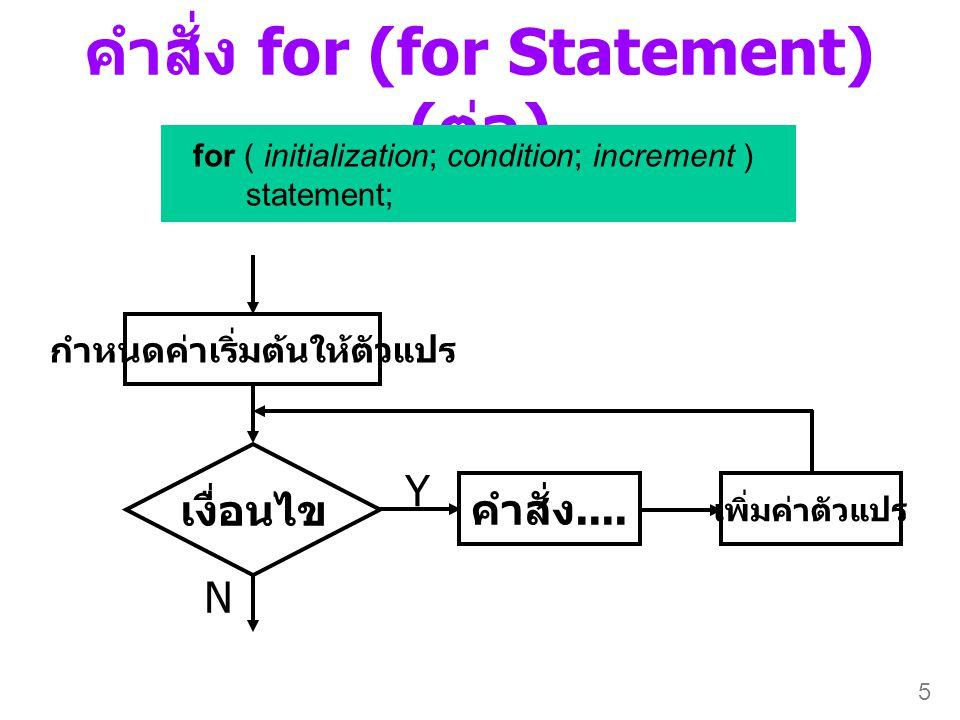 5 คำสั่ง for (for Statement) ( ต่อ ) for ( initialization; condition; increment ) statement; เงื่อนไข Y N กำหนดค่าเริ่มต้นให้ตัวแปร คำสั่ง.... เพิ่มค่