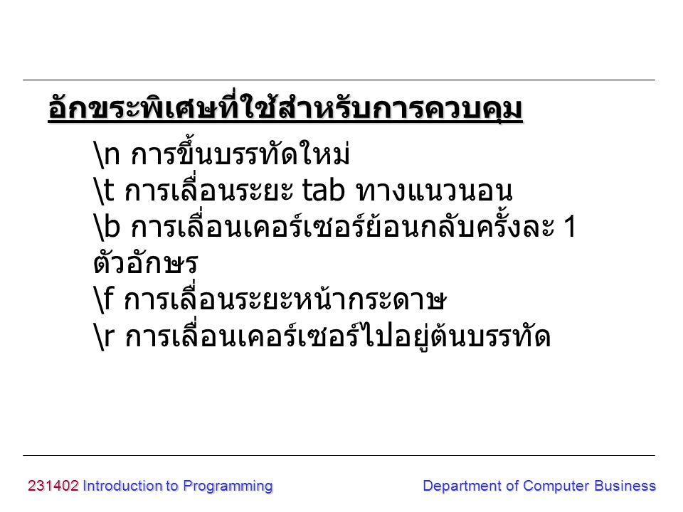231402 Introduction to Programming Department of Computer Business การแสดงข้อมูล รูปแบบ putchar(argument) argument : ตัวแปร, ค่าคงที่, ฟังก์ชัน example x='A'; putchar(x); putchar('A'); ฟังก์ชัน putchar() <conio.h>