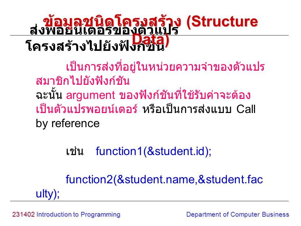 231402 Introduction to Programming Department of Computer Business เป็นการส่งที่อยู่ในหน่วยความจำของตัวแปร สมาชิกไปยังฟังก์ชัน ฉะนั้น argument ของฟังก