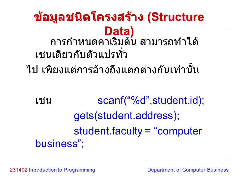 231402 Introduction to Programming Department of Computer Business การกำหนดค่าเริ่มต้น สามารถทำได้ เช่นเดียวกับตัวแปรทั่ว ไป เพียงแต่การอ้างถึงแตกต่าง