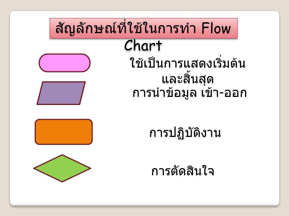ใช้เป็นการแสดงเริ่มต้น และสิ้นสุด การนำข้อมูล เข้า - ออก การปฏิบัติงาน การตัดสินใจ สัญลักษณ์ที่ใช้ในการทำ Flow Chart