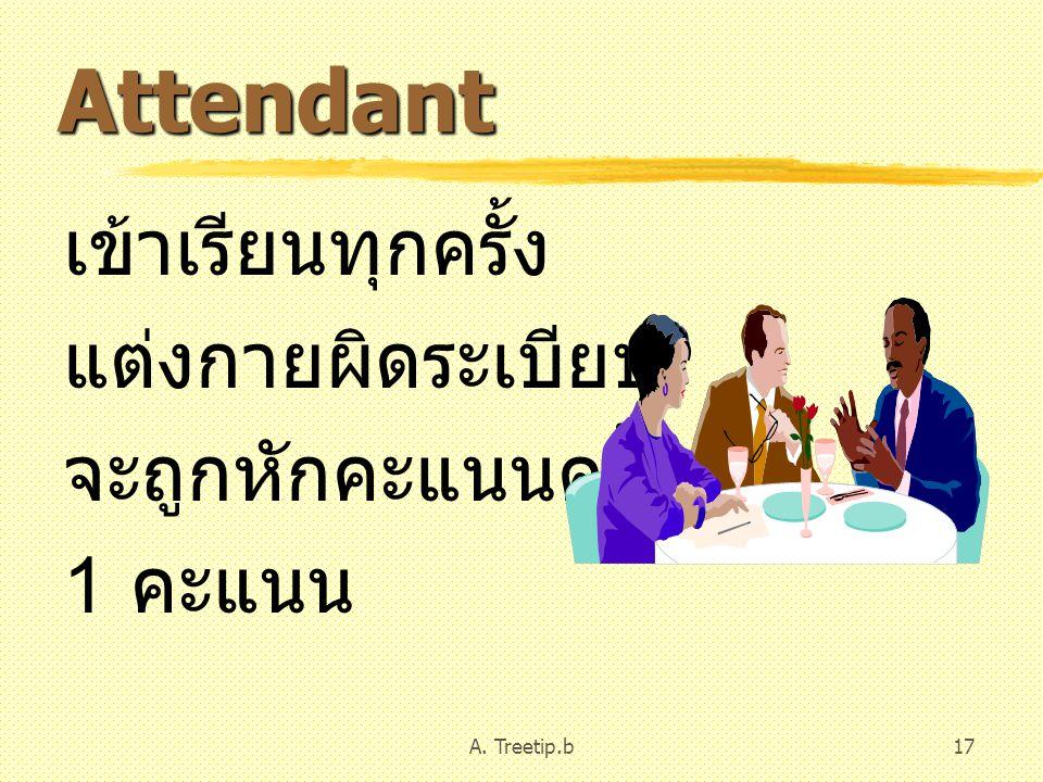 A. Treetip.b17 Attendant เข้าเรียนทุกครั้ง แต่งกายผิดระเบียบ จะถูกหักคะแนนครั้งละ 1 คะแนน
