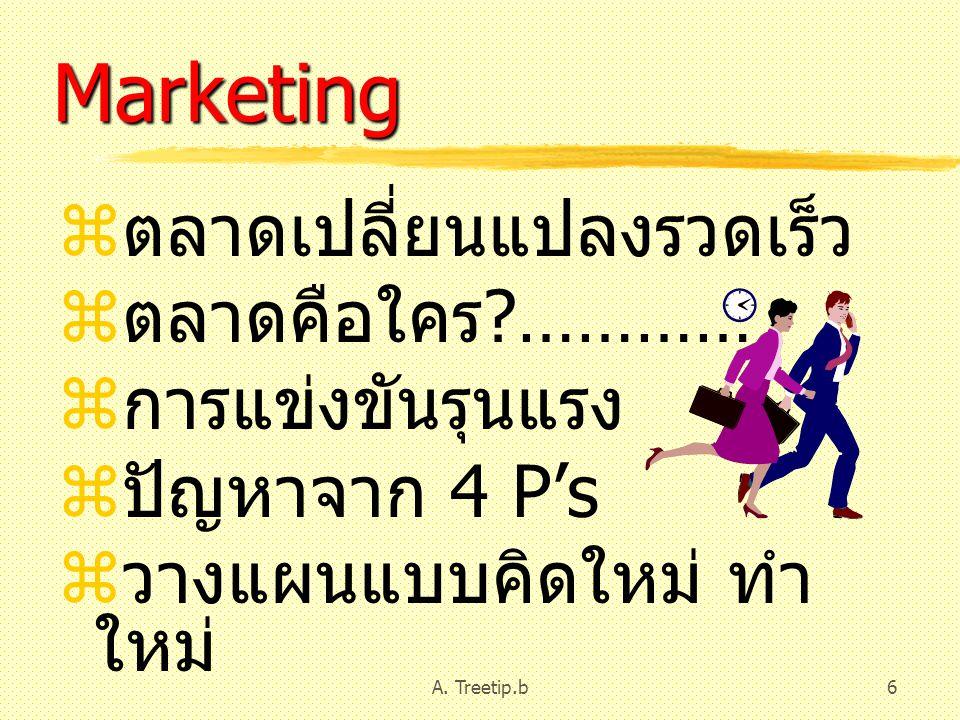 A. Treetip.b6 Marketing  ตลาดเปลี่ยนแปลงรวดเร็ว  ตลาดคือใคร ?…………  การแข่งขันรุนแรง  ปัญหาจาก 4 P's  วางแผนแบบคิดใหม่ ทำ ใหม่