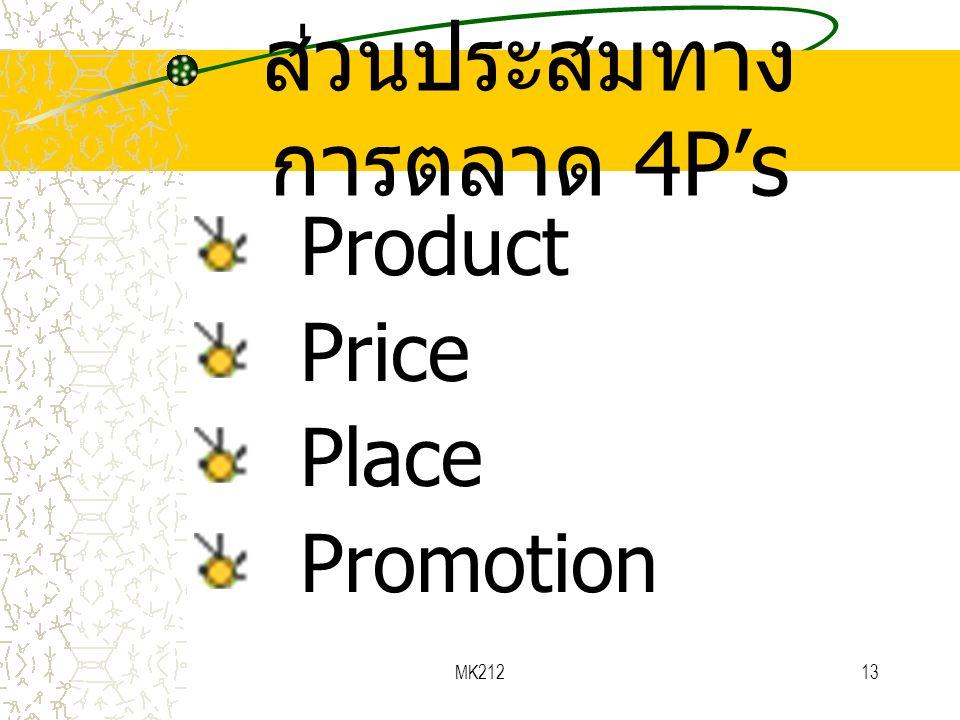 MK21213 ส่วนประสมทาง การตลาด 4P's Product Price Place Promotion