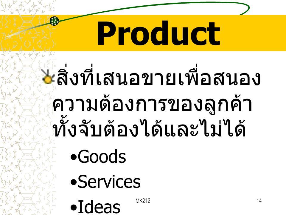 MK21214 Product สิ่งที่เสนอขายเพื่อสนอง ความต้องการของลูกค้า ทั้งจับต้องได้และไม่ได้ •Goods •Services •Ideas