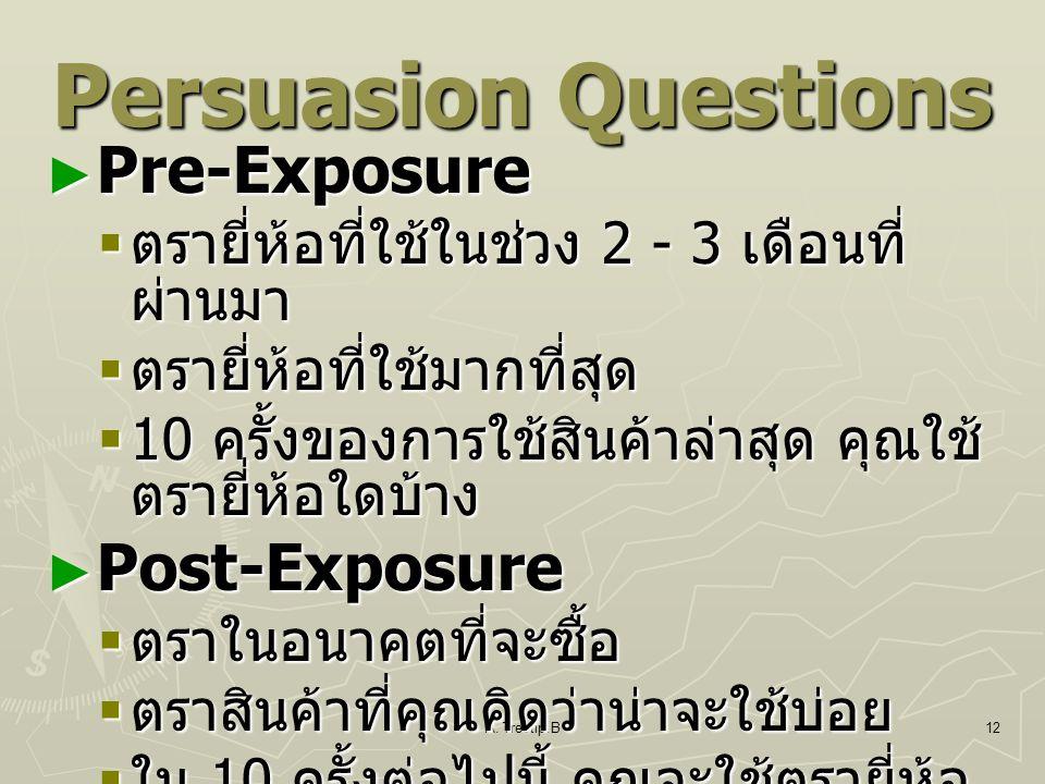 A. Treetip.B12 Persuasion Questions ► Pre-Exposure  ตรายี่ห้อที่ใช้ในช่วง 2 - 3 เดือนที่ ผ่านมา  ตรายี่ห้อที่ใช้มากที่สุด  10 ครั้งของการใช้สินค้าล