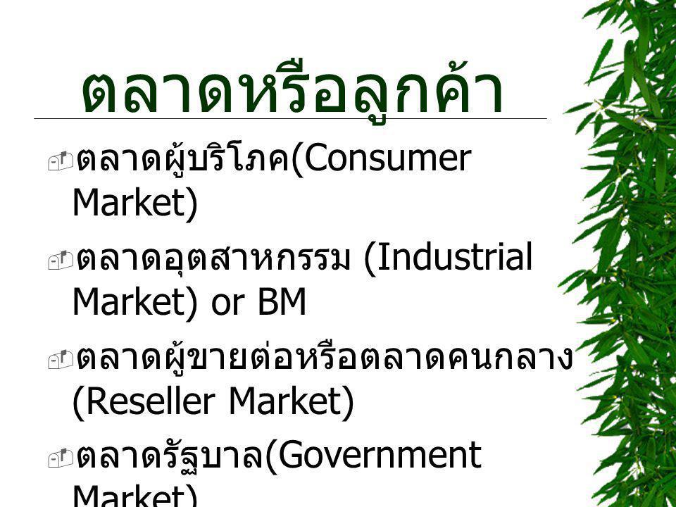 ตลาดหรือลูกค้า  ตลาดผู้บริโภค (Consumer Market)  ตลาดอุตสาหกรรม (Industrial Market) or BM  ตลาดผู้ขายต่อหรือตลาดคนกลาง (Reseller Market)  ตลาดรัฐบาล (Government Market)  ตลาดต่างประเทศ (International Market)