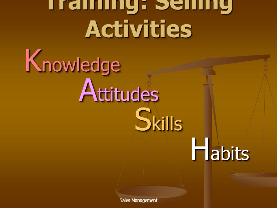 Sales Management Training: Selling Activities K nowledge A ttitudes S kills H abits K nowledge A ttitudes S kills H abits