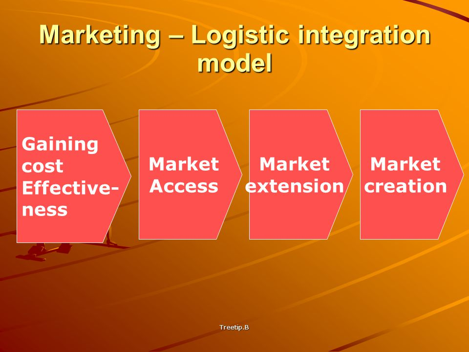 Treetip.B Marketing – Logistic integration model Gaining cost Effective- ness Market Access Market extension Market creation