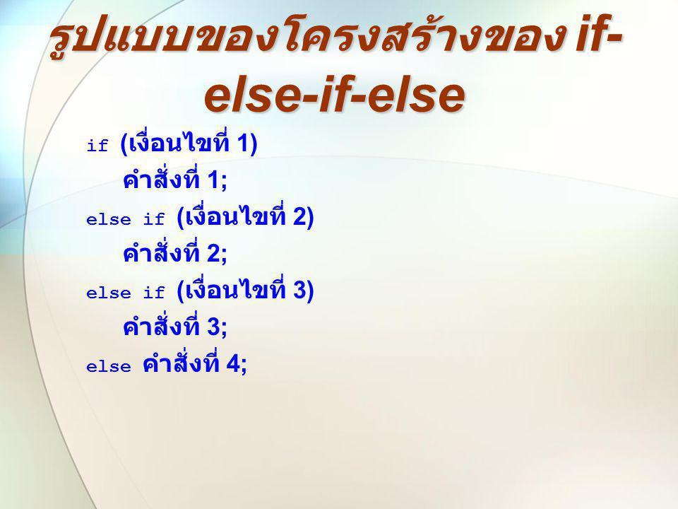 รูปแบบของโครงสร้างของ if- else-if-else if ( เงื่อนไขที่ 1) คำสั่งที่ 1; else if ( เงื่อนไขที่ 2) คำสั่งที่ 2; else if ( เงื่อนไขที่ 3) คำสั่งที่ 3; el