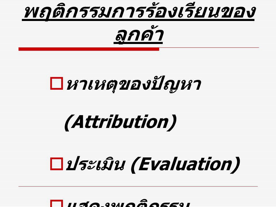 พฤติกรรมการร้องเรียนของ ลูกค้า  หาเหตุของปัญหา (Attribution)  ประเมิน (Evaluation)  แสดงพฤติกรรม (Behavior)