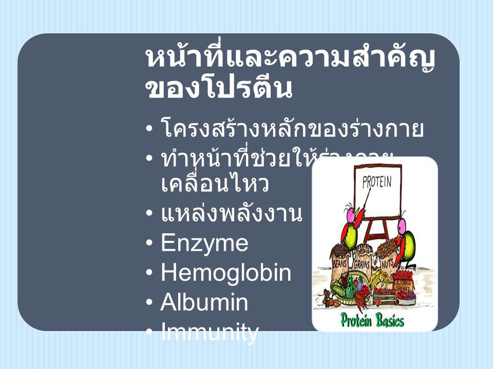 หน้าที่และความสำคัญ ของโปรตีน • โครงสร้างหลักของ ร่างกาย • ทำหน้าที่ช่วยให้ร่างกาย เคลื่อนไหว • แหล่งพลังงาน •Enzyme •Hemoglobin •Albumin •Immunity