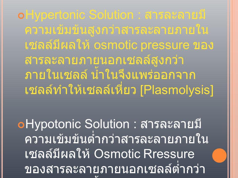 Hypertonic Solution : สารละลายมี ความเข้มข้นสูงกว่าสารละลายภายใน เซลล์มีผลให้ osmotic pressure ของ สารละลายภายนอกเซลล์สูงกว่า ภายในเซลล์ น้ำในจึงแพร่ออกจาก เซลล์ทำให้เซลล์เหี่ยว [Plasmolysis] Hypotonic Solution : สารละลายมี ความเข้มข้นต่ำกว่าสารละลายภายใน เซลล์มีผลให้ Osmotic Rressure ของสารละลายภายนอกเซลล์ต่ำกว่า ภายในเซลล์ น้ำในจึงแพร่เข้าสู่เซลล์ ทำให้เซลล์เต่ง [Plasmoplysis]