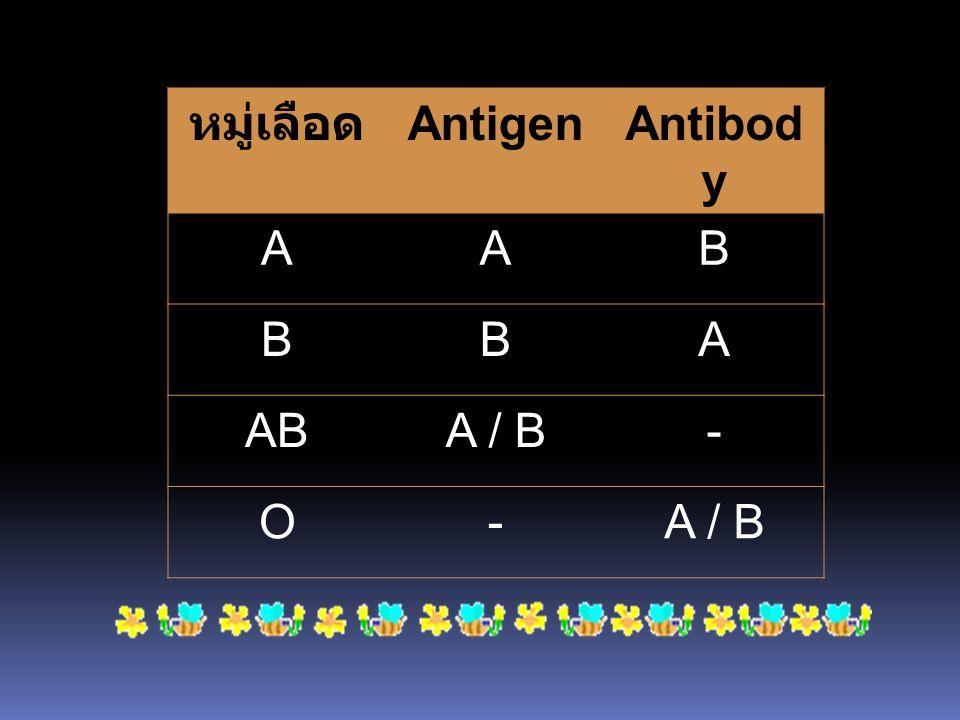 หมู่เลือด AntigenAntibod y AAB BBA ABA / B- O-