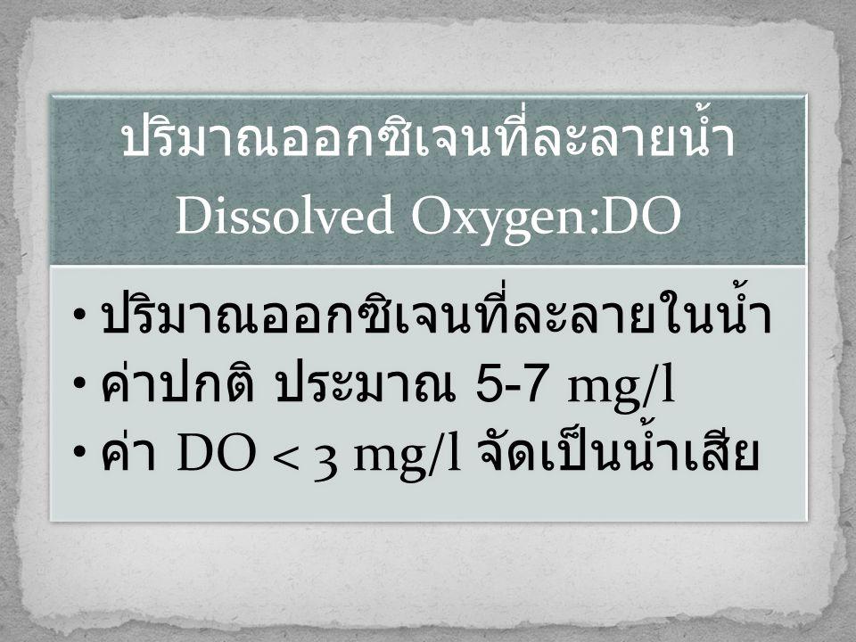 ปริมาณออกซิเจนที่ละลายน้ำ Dissolved Oxygen:DO • ปริมาณออกซิเจนที่ละลายในน้ำ • ค่าปกติ ประมาณ 5-7 mg/l • ค่า DO < 3 mg/l จัดเป็นน้ำเสีย