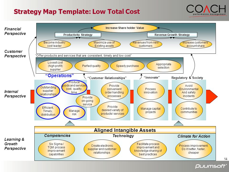 14 Strategy Map Template: Low Total Cost Financial Perspective Customer Perspective Increase Share holder Value Become industry cost leader Maximize u