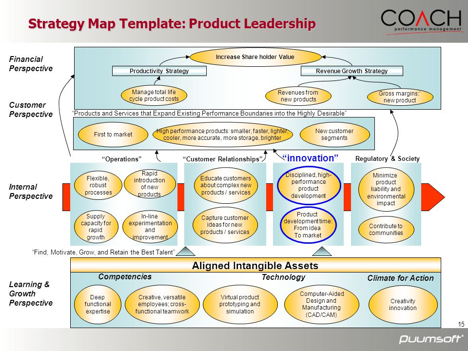 15 Strategy Map Template: Product Leadership Financial Perspective Customer Perspective Increase Share holder Value Manage total life cycle product co