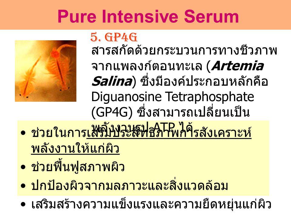 5. GP4G • ช่วยในการเสริมประสิทธิภาพการสังเคราะห์ พลังงานให้แก่ผิว • ช่วยฟื้นฟูสภาพผิว • ปกป้องผิวจากมลภาวะและสิ่งแวดล้อม • เสริมสร้างความแข็งแรงและควา