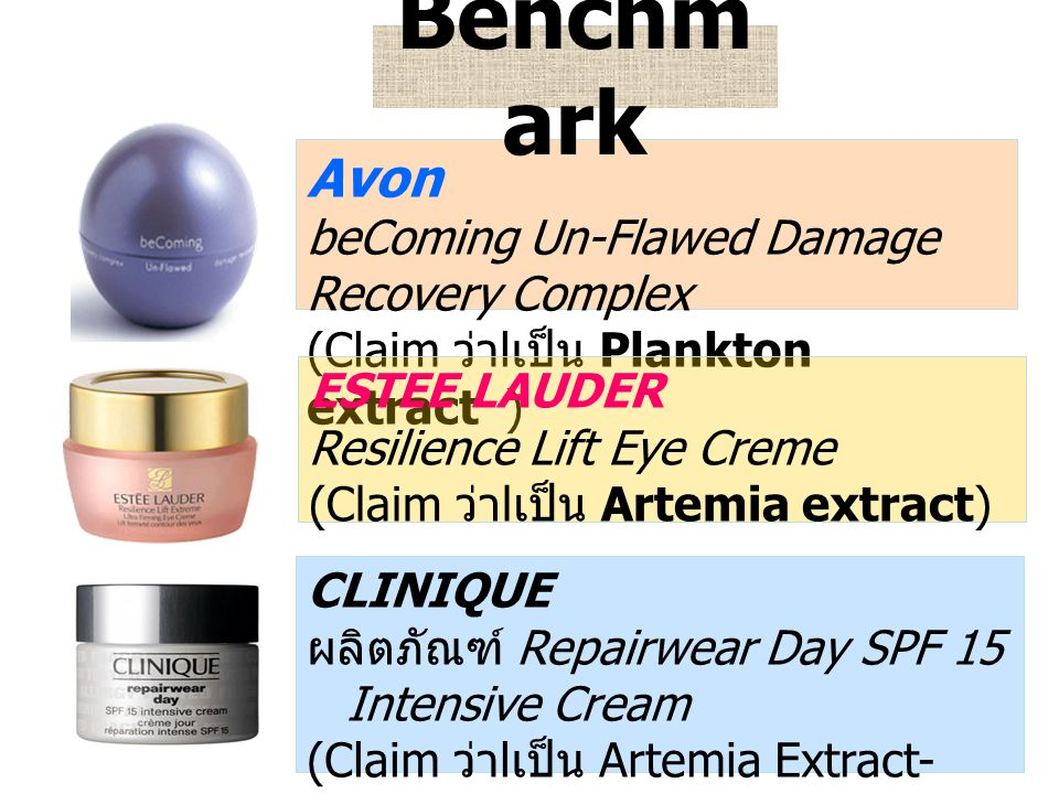 Avon beComing Un-Flawed Damage Recovery Complex (Claim ว่า l เป็น Plankton extract ) ESTEE LAUDER Resilience Lift Eye Creme (Claim ว่า l เป็น Artemia