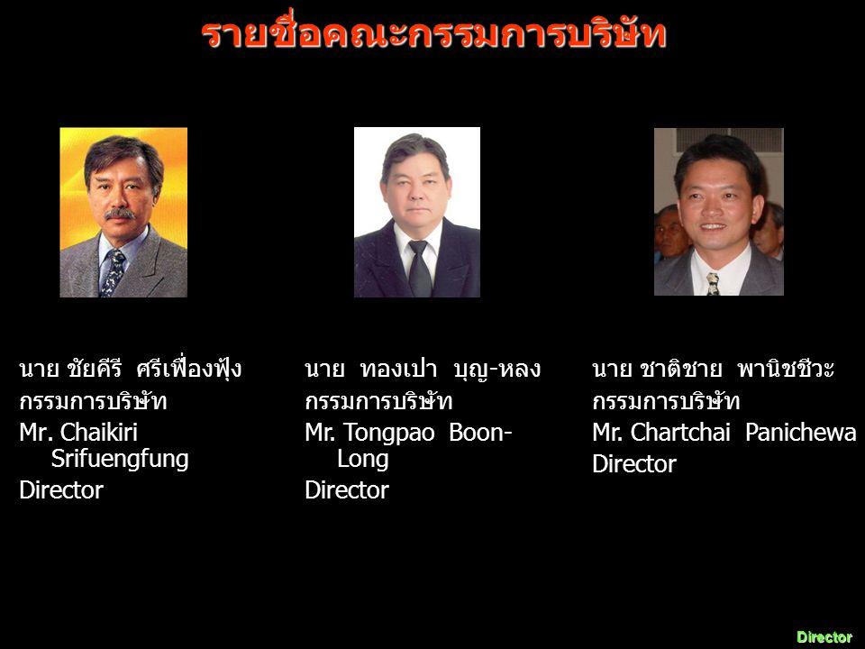 นาย ชัยคีรี ศรีเฟื่องฟุ้ง กรรมการบริษัท Mr. Chaikiri Srifuengfung Director นาย ทองเปา บุญ - หลง กรรมการบริษัท Mr. Tongpao Boon- Long Director นาย ชาติ