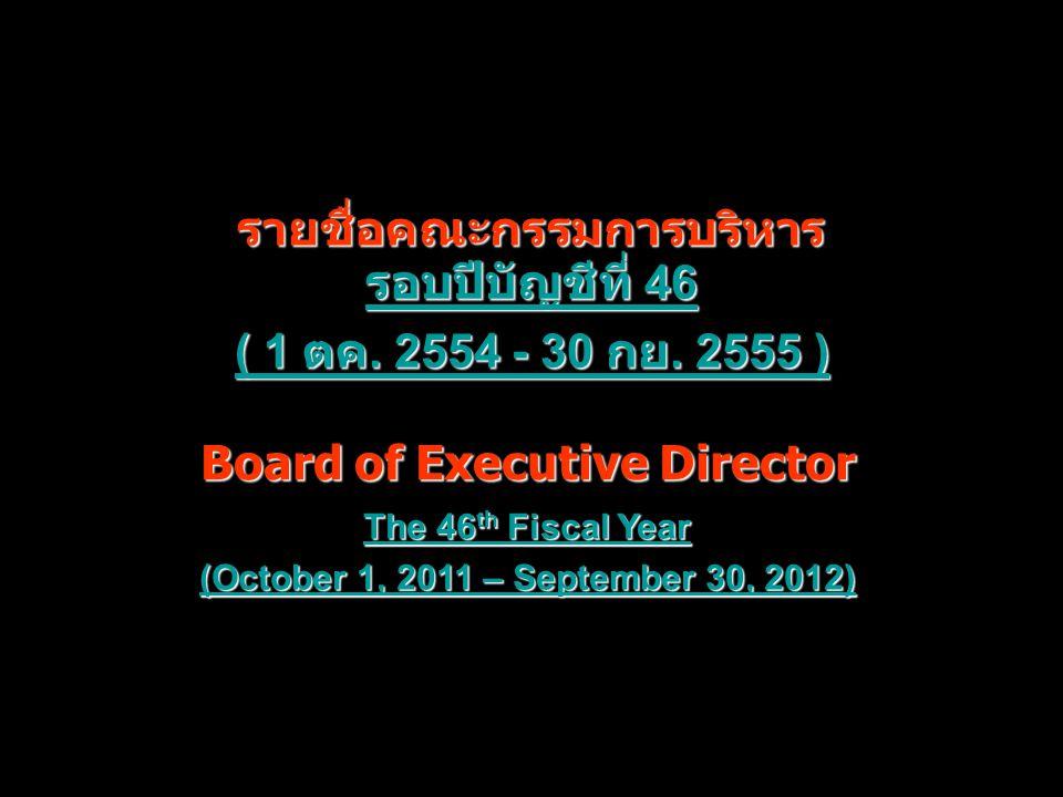 รอบปีบัญชีที่ 46 รอบปีบัญชีที่ 46 ( 1 ตค. 2554 - 30 กย. 2555 ) ( 1 ตค. 2554 - 30 กย. 2555 ) รายชื่อคณะกรรมการบริหาร Board of Executive Director Board