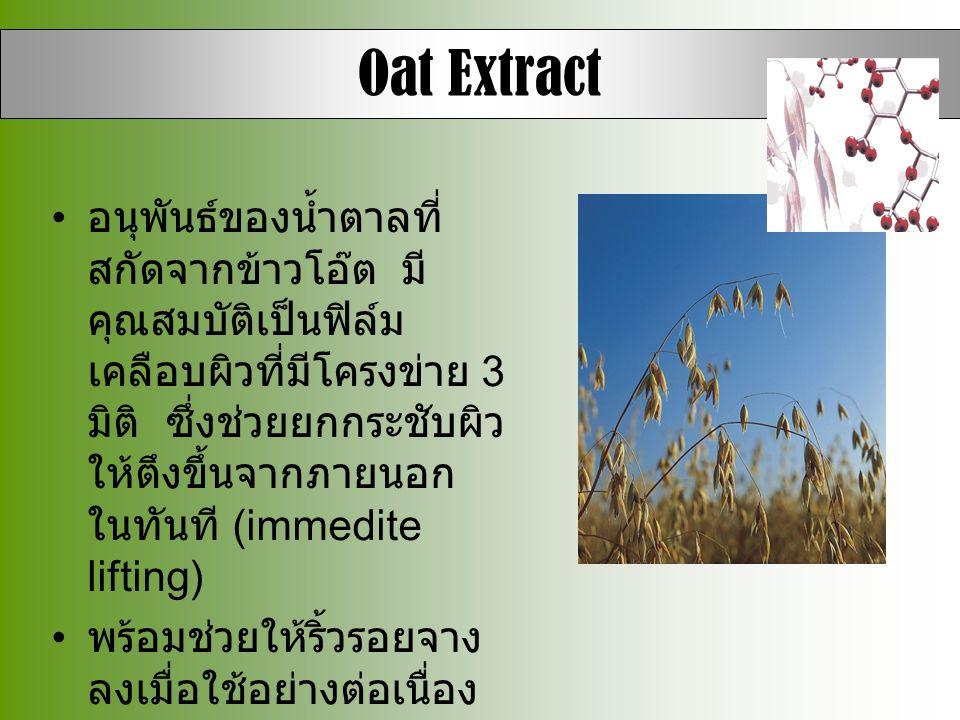 Oat Extract • อนุพันธ์ของน้ำตาลที่ สกัดจากข้าวโอ๊ต มี คุณสมบัติเป็นฟิล์ม เคลือบผิวที่มีโครงข่าย 3 มิติ ซึ่งช่วยยกกระชับผิว ให้ตึงขึ้นจากภายนอก ในทันที