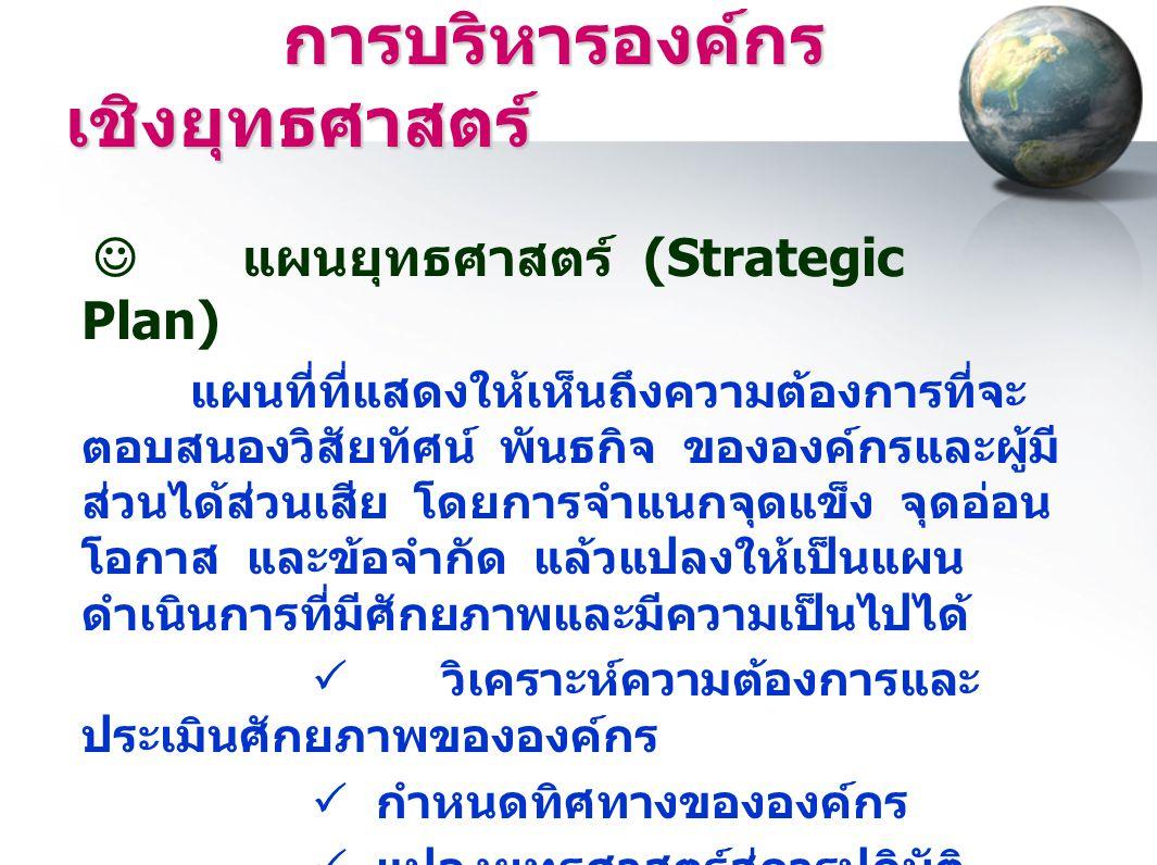 การบริหารองค์กร เชิงยุทธศาสตร์ การบริหารองค์กร เชิงยุทธศาสตร์  แผนยุทธศาสตร์ (Strategic Plan) แผนที่ที่แสดงให้เห็นถึงความต้องการที่จะ ตอบสนองวิสัยทัศ