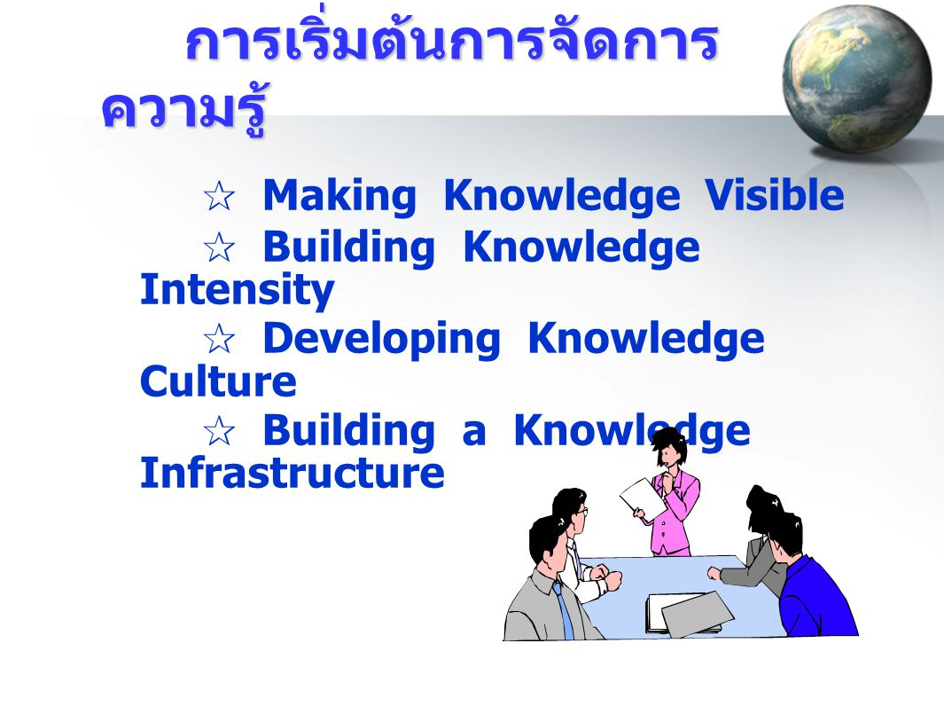 การเริ่มต้นการจัดการ ความรู้ ✰ Making Knowledge Visible ✰ Building Knowledge Intensity ✰ Developing Knowledge Culture ✰ Building a Knowledge Infrastru