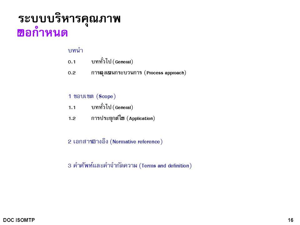 16DOC ISOMTP ระบบบริหารคุณภาพ ข้อกำหนด บทนำ 0.1 บททั่วไป (General) 0.2 การมุ่งเน้นกระบวนการ (Process approach) 1 ขอบเขต (Scope) 1.1 บททั่วไป (General)