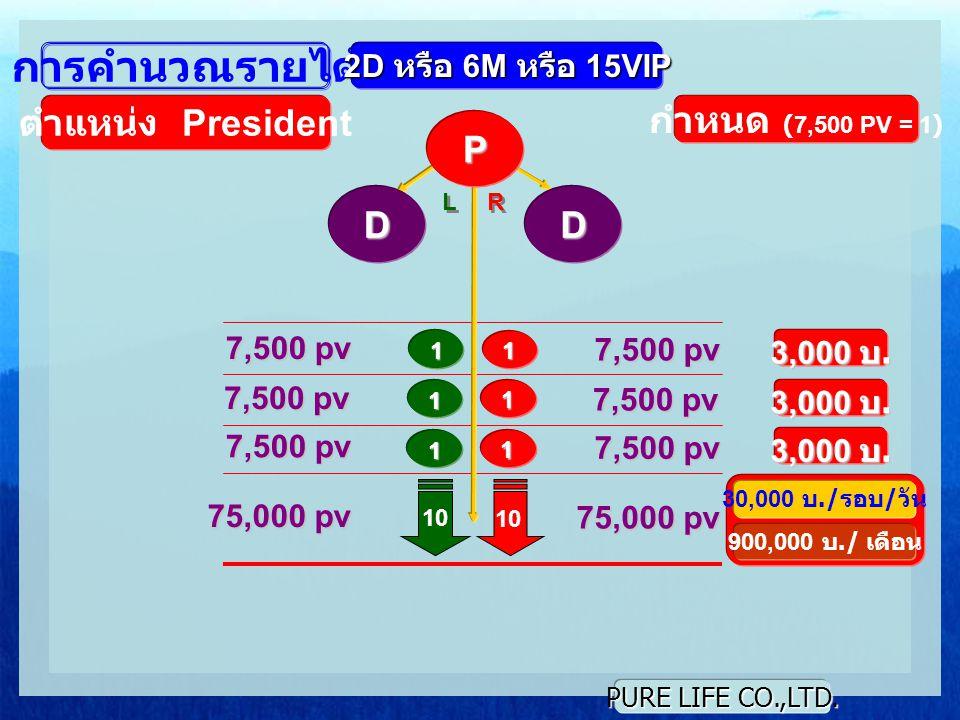 PURE LIFE CO.,LTD. L L R R 1 1 10 การคำนวณรายได้ ตำแหน่ง President กำหนด (7,500 PV = 1) 7,500 pv 3,000 บ. 7,500 pv 1 1 1 1 3,000 บ. P 2D หรือ 6M หรือ
