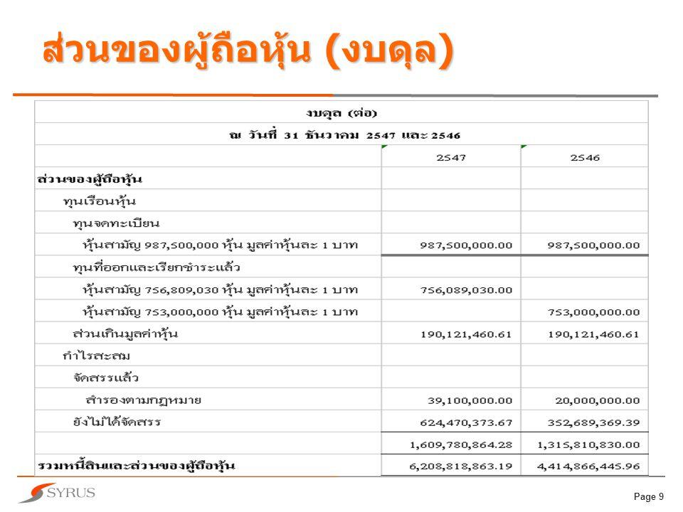 Page 10 งบกระแสเงินสด  กระแสเงินสดจากกิจกรรมการ ดำเนินงาน  กระแสเงินสดจากกิจกรรมการลงทุน  กระแสเงินสดจากกิจกรรมการจัดหา เงิน