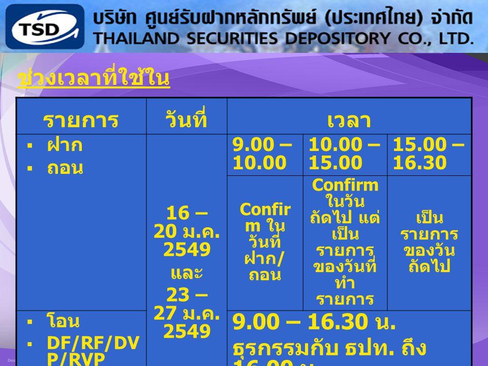 12 ช่วงเวลาที่ใช้ใน การทดสอบ : รายการวันที่เวลา  ฝาก  ถอน 16 – 20 ม. ค. 2549 และ 23 – 27 ม. ค. 2549 9.00 – 10.00 10.00 – 15.00 15.00 – 16.30 Confir