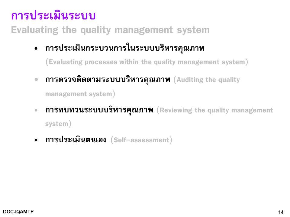 14DOC-IQAMTP การประเมินระบบ Evaluating the quality management system • การประเมินกระบวนการในระบบบริหารคุณภาพ (Evaluating processes within the quality