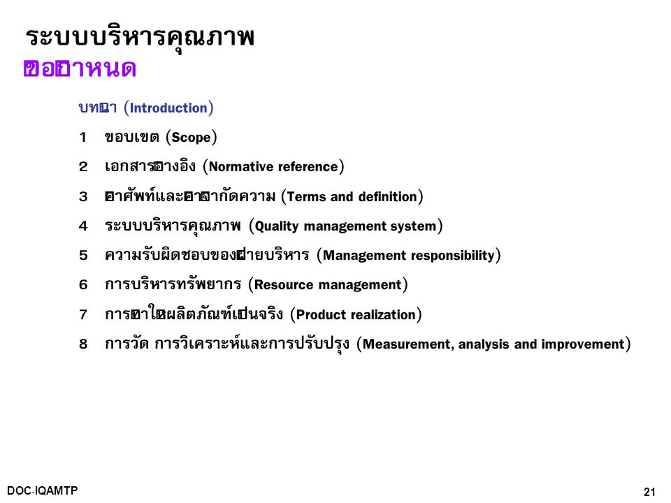 21DOC-IQAMTP ระบบบริหารคุณภาพ ข้อกำหนด บทนำ (Introduction) 1 ขอบเขต (Scope) 2 เอกสารอ้างอิง (Normative reference) 3 คำศัพท์และคำจำกัดความ (Terms and d