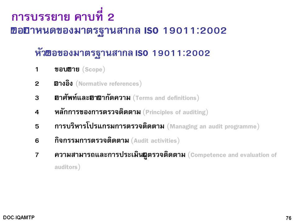 76DOC-IQAMTP การบรรยาย คาบที่ 2 ข้อกำหนดของมาตรฐานสากล ISO 19011:2002 หัวข้อของมาตรฐานสากล ISO 19011:2002 1 ขอบข่าย (Scope) 2 อ้างอิง (Normative refer