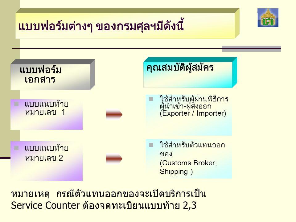แบบฟอร์มต่างๆ ของกรมศุลฯมีดังนี้ คุณสมบัติผู้สมัคร แบบฟอร์มเอกสาร   แบบแนบท้าย หมายเลข 3   ใช้สำหรับเคาน์เตอร์ บริการ (Service Counter)   แบบแนบท้าย หมายเลข 4   ใช้สำหรับผู้รับผิดชอบ การบรรจุ (Freight Forwarder)