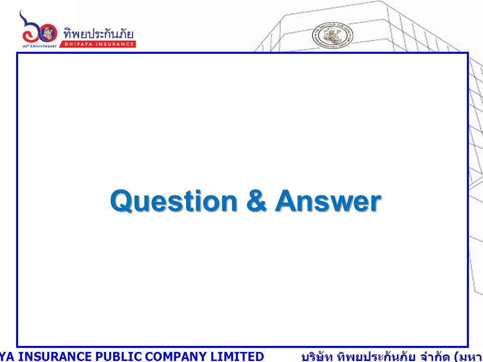 DHIPAYA INSURANCE PUBLIC COMPANY LIMITED บริษัท ทิพยประกันภัย จำกัด ( มหาชน ) Question & Answer