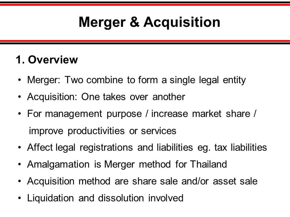 Merger & Acquisition • Merger: Two combine to form a single legal entity • Acquisition: One takes over another • For management purpose / increase market share / improve productivities or services • Affect legal registrations and liabilities eg.