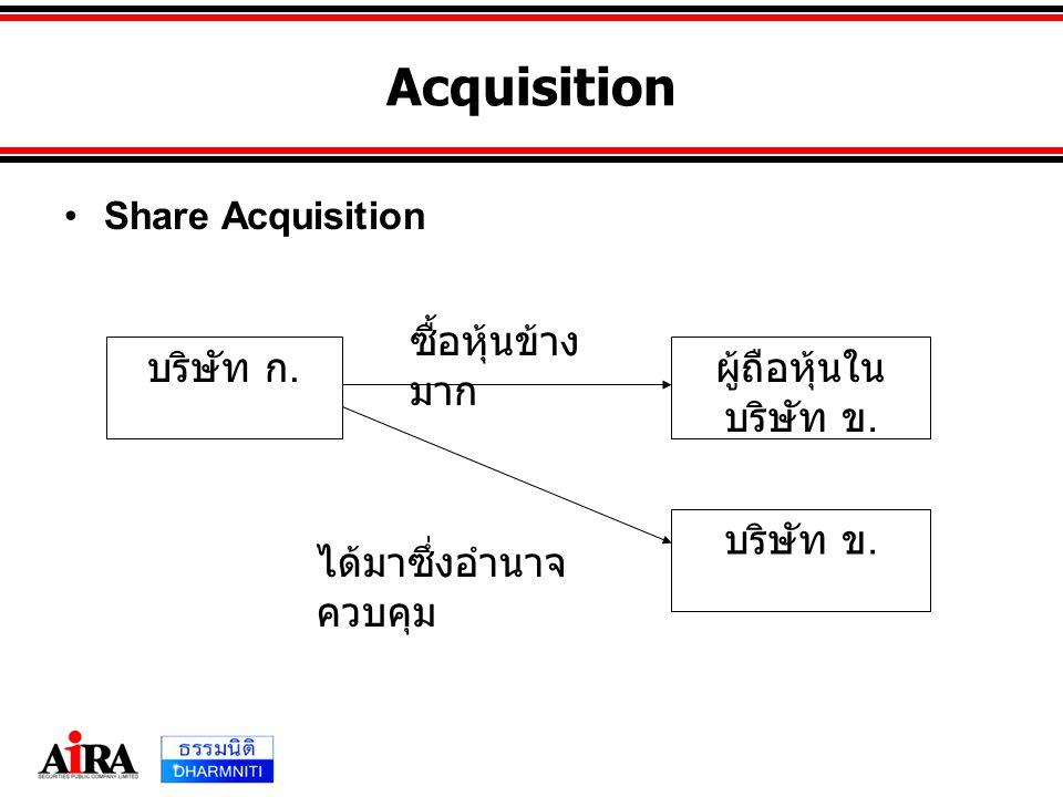 Acquisition •Share Acquisition บริษัท ก. ผู้ถือหุ้นใน บริษัท ข. บริษัท ข. ซื้อหุ้นข้าง มาก ได้มาซึ่งอำนาจ ควบคุม