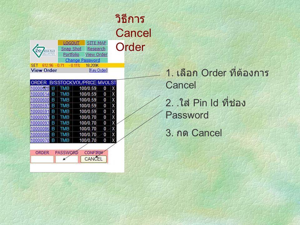 วิธีการ Cancel Order 1. เลือก Order ที่ต้องการ Cancel 2.. ใส่ Pin Id ที่ช่อง Password 3. กด Cancel